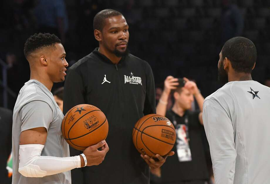 LOS ANGELES, CA - FEBRUARY 18:  Russell Westbrook, Kevin Durant and Kyrie Irving warm up during the NBA All-Star Game 2018 at Staples Center on February 18, 2018 in Los Angeles, California.  (Photo by Jayne Kamin-Oncea/Getty Images) Photo: Jayne Kamin-Oncea, Getty Images