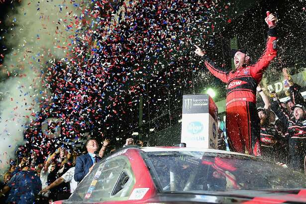 DAYTONA BEACH, FL - FEBRUARY 18:  Austin Dillon, driver of the #3 DOW Chevrolet, celebrates in Victory Lane after winning the Monster Energy NASCAR Cup Series 60th Annual Daytona 500 at Daytona International Speedway on February 18, 2018 in Daytona Beach, Florida.  (Photo by Jared C. Tilton/Getty Images)