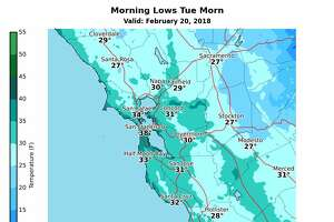 Low temperatures were expected around the Bay Area on Tuesday.