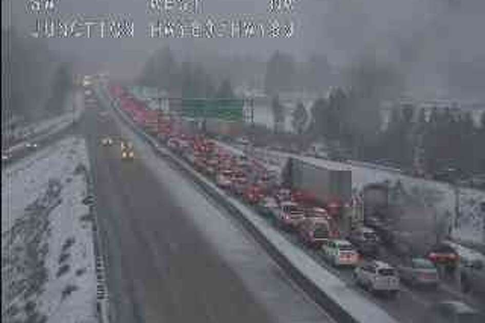 A Caltrans traffic camera shows the backup on I-80 near Highway 89.