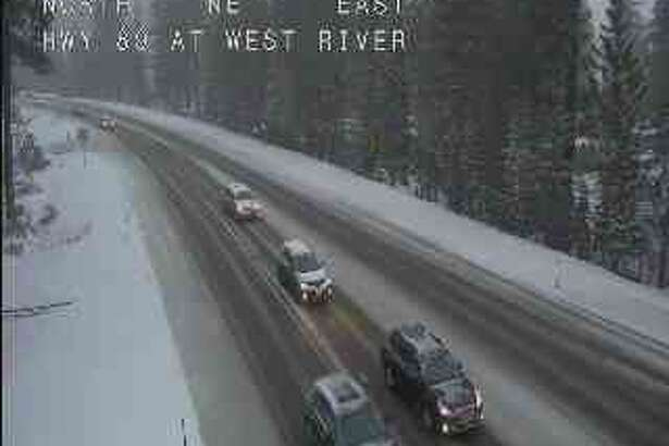 Traffic camera shows snow accumulating on Highway 89 near West River.