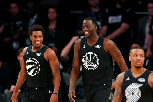 Team Stephen's Draymond Green and Kyle Lowry enjoy themselves in 1st quarter against Team LeBron during NBA All Star Game at Staples Center in Los Angeles, Calif., on Sunday, February 18, 2018.