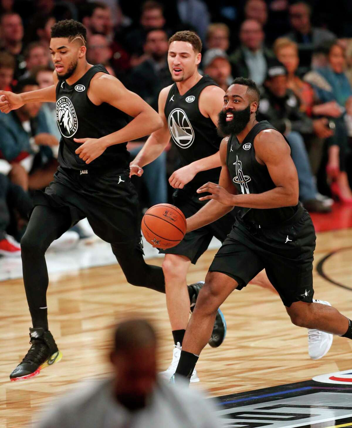 Team Stephen's James Harden, Kley Thompson and Karl-Anthony Towns head up court against Team LeBron in 2nd quarter during NBA All Star Game at Staples Center in Los Angeles, Calif., on Sunday, February 18, 2018.