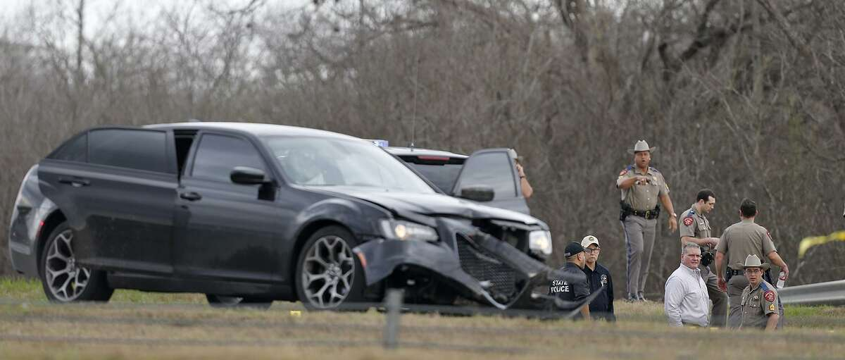 Emergency personnel work the scene where a DPS trooper was shot Sunday Feb. 18, 2018 at IH-10 and Graytown Road.Edward Montelongo, 33, of San Antonio was killed in a shootout with police.