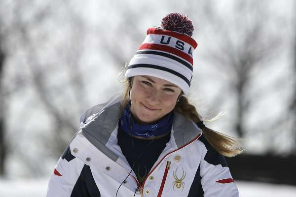 United States' Mikaela Shiffrin smiles as she arrives for a women's downhill training run at the 2018 Winter Olympics in Jeongseon, South Korea, Monday, Feb. 19, 2018. (AP Photo/Michael Probst)
