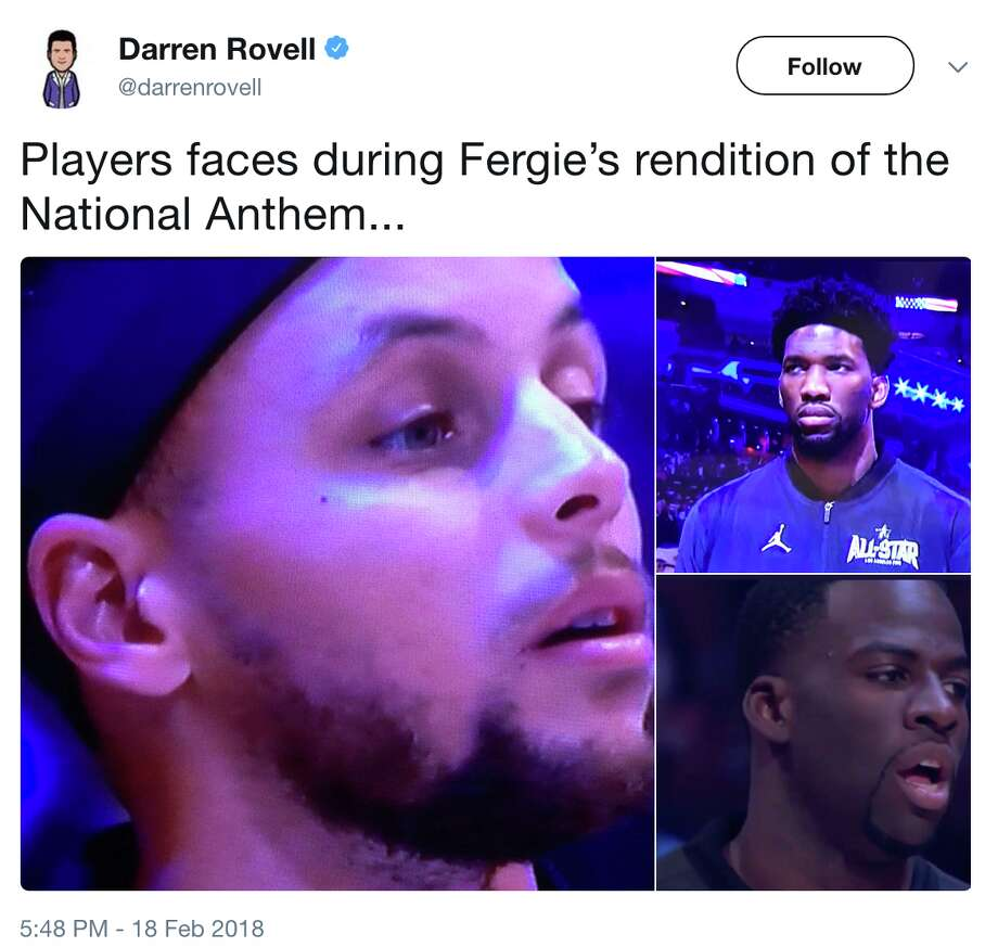 Twitter users let loose after Fergie's memorable rendition of the National Anthem before the NBA All-Star Game on Sunday, February 18, 2018. Photo: @darrenrovell/Twitter