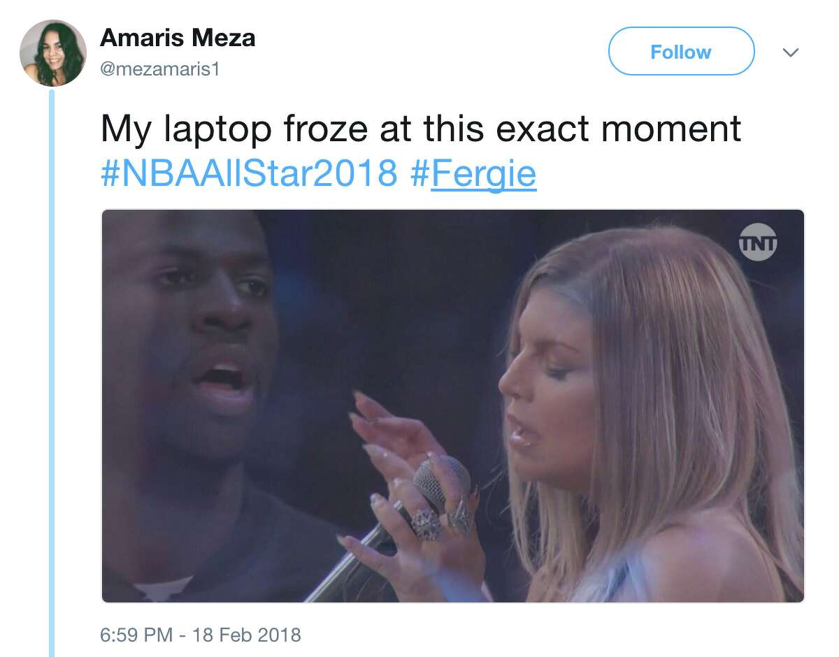 Twitter users let loose after Fergie's memorable rendition of the National Anthem before the NBA All-Star Game on Sunday, February 18, 2018.