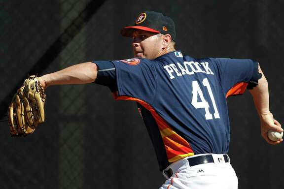 Houston Astros RHP pitcher Brad Peacock (41) throws a bullpen session during spring training at The Ballpark of the Palm Beaches, Friday, Feb. 16, 2018, in West Palm Beach    ( Karen Warren / Houston Chronicle )