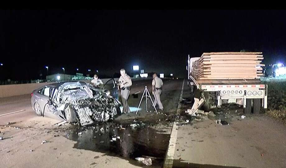 A driver slammed into the back of a disabled 18-wheeler Sunday in a fatal crash in northern Montgomery County, tying up southbound traffic on Interstate 45.