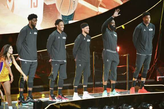 Team Stephen, with Joel Embiid, left, DeMar Derozan, Stephen Curry, James Harden and Giannis Antetokounmpo as its starters, fell 148-145 to Team LeBron in the NBA All-Star Game on Sunday.