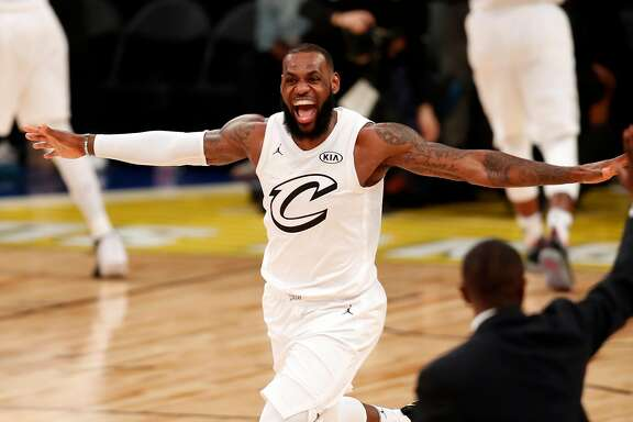 Team LeBron's LeBron James celebrates his team's 148-145 win over Team Stephen during NBA All Star Game at Staples Center in Los Angeles, Calif., on Sunday, February 18, 2018.