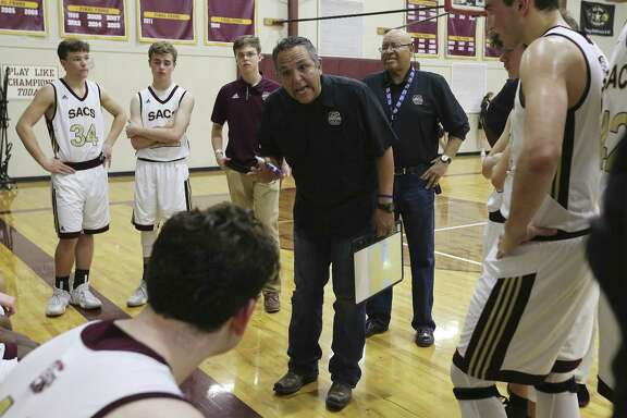 "Sports profile on San Antonio Christian basketball coach John Valenzuela. Coach ""Val"" got his 600th career win earlier this year and juggles coaching with being a preacher. Prior to coaching at San Antonio Christian, he coached the Madison basketball team from 2002 to 2010-2011 season. (Kin Man Hui/San Antonio Express-News)"