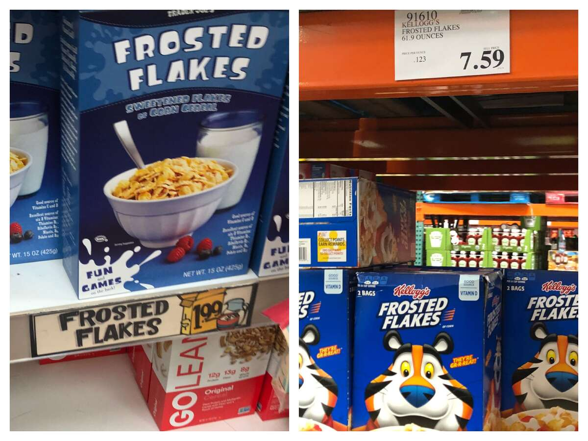 Frosted Flakes Trader Joe's: $1.99 for 15 oz ($0.13 / oz) Costco: $7.59 for 61.9 oz ($0.12 / oz)