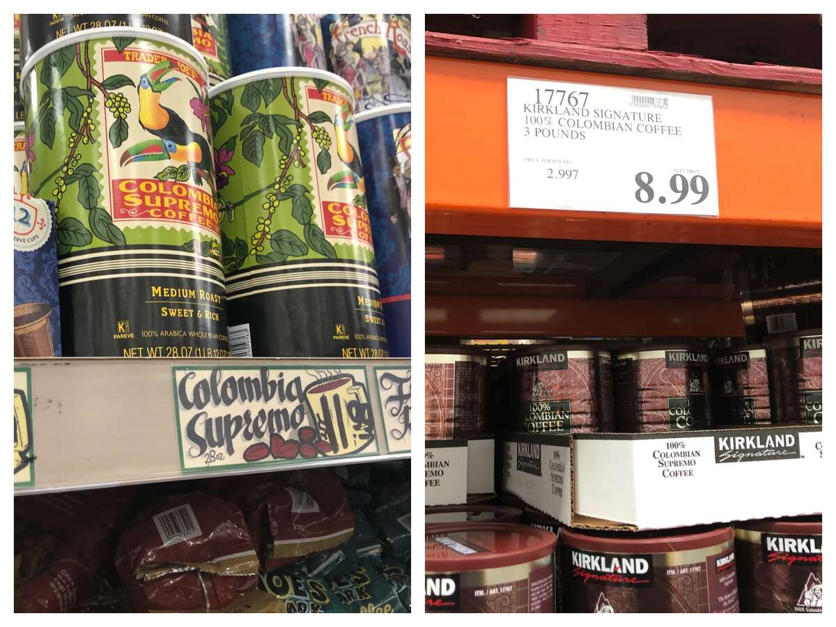 Colombian coffee Trader Joe's:$11.99 for 28 oz ($0.43 / oz) Costco:$8.99 for 48 oz ($0.19 / oz)