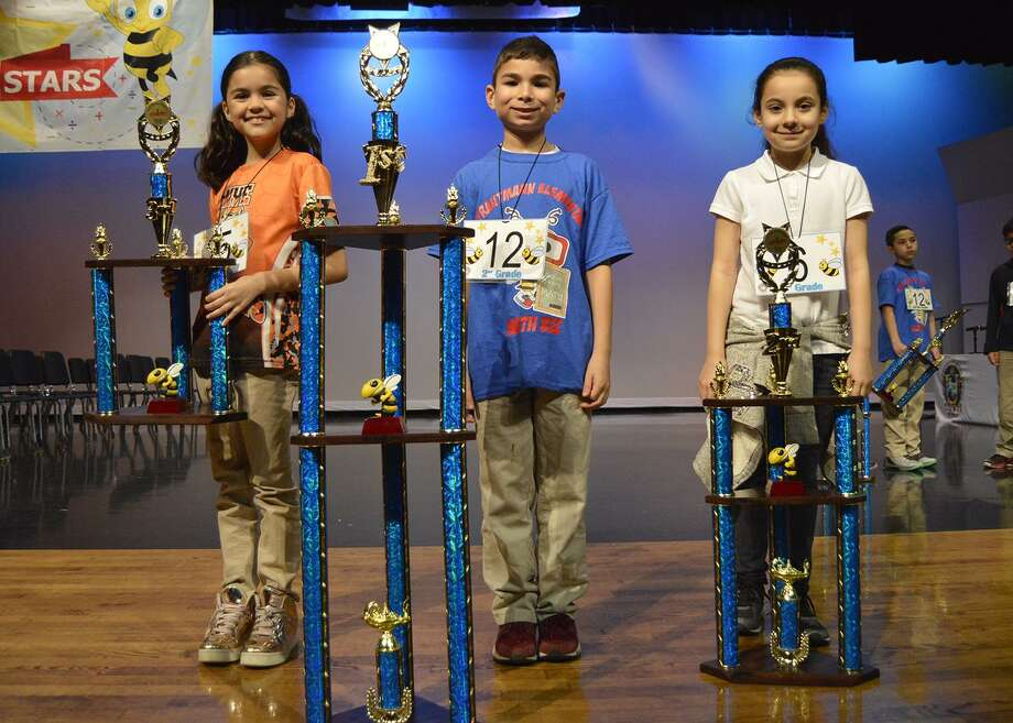 Pictured, from left, are Karen Vargas, Lorenzo Leal and Mia Ramirez, second grade division winners. Photo: Courtesy