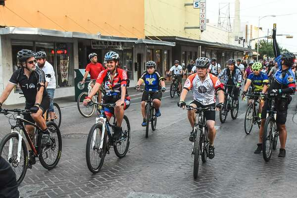 Cyclists participating in the Laredo International Ride of Silence make their way down Convent Avenue on Wednesday, May 17, 2017 after leaving the Bridge of the Americas. The Ride of Silence is done in remembrance of cyclists who lost their lives while riding their bikes.
