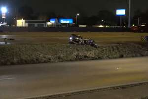 One person died early Monday morning, Feb. 19, 2018, in a motorcycle accident near I-45 and Parker Road.