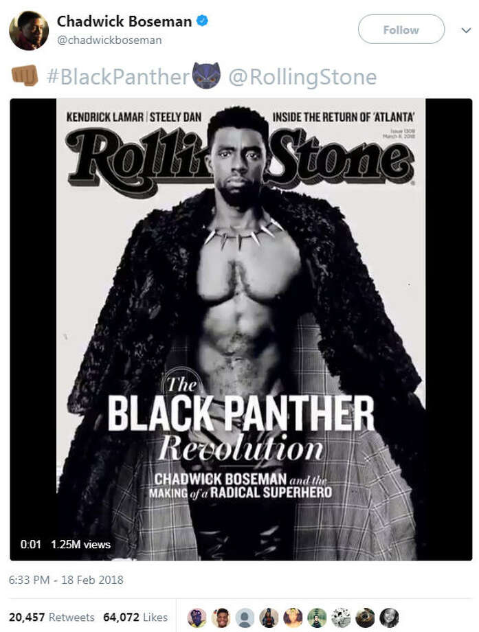 Chadwick Boseman shared a photo of his bare-chest Rolling Stone cover on Sunday and the internet showed just how thirsty it can be.Source: Twitter Photo: Twitter