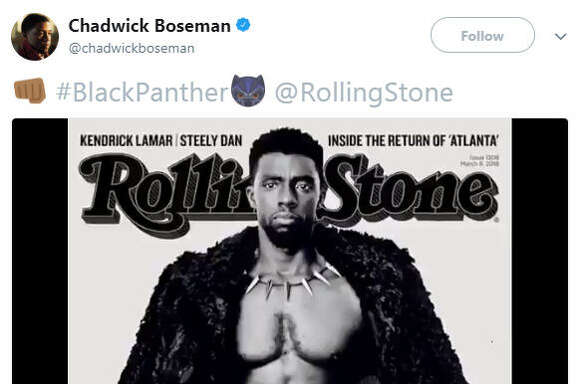 Chadwick Boseman shared a photo of his bare-chest Rolling Stone cover on Sunday and the internet showed just how thirsty it can be.  Source:  Twitter