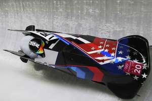 PYEONGCHANG-GUN, SOUTH KOREA - FEBRUARY 18:  Codie Bascue and Samuel Mcguffie of the United States slide during two-man Bobsleigh heats on day nine of the PyeongChang 2018 Winter Olympic Games at Olympic Sliding Centre on February 18, 2018 in Pyeongchang-gun, South Korea.