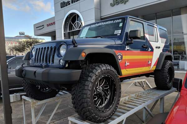 1of31everyone Knows That Houston Is Crazy For Jeeps And There A Custom Astros Jeep At The Mac Haik Chrysler Dodge Ram Dealership Off