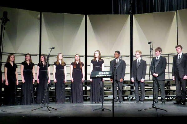 The Edwardsville High School choirs hosted a concert Feb. 13. Pictured here is the Chamber Choir.