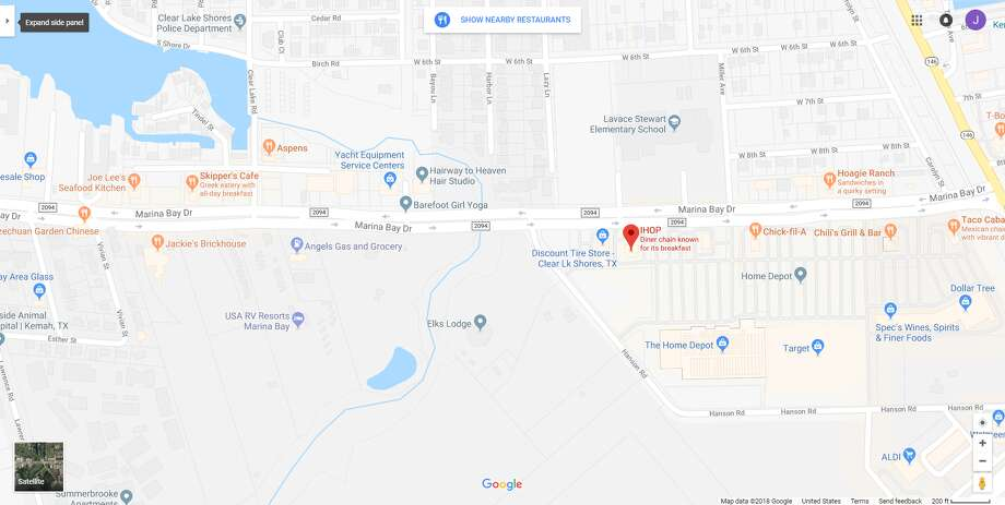FILE - A screenshot of a Google Maps image of the 400 block of FM 2094 in Clear Lake Shores, Texas. On Feb. 18, 2018, police reported a man shot another man in the head following some kind of argument in a nearby IHOP restaurant. Photo: File/Google