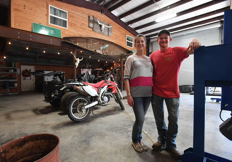 Brian Curtis and Jenifer Curtis at their SIlsbee Barndominium on Friday. Classified as a residence, the structure consists of a home inside a workshop and is a rising trend of home ownership.  Photo taken Friday, February 16, 2018 Guiseppe Barranco/The Enterprise Photo: Guiseppe Barranco, Photo Editor / Guiseppe Barranco ©