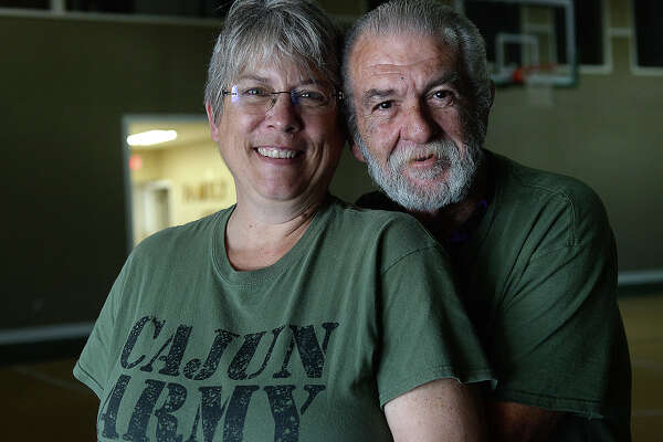 Patty and Richard Gibbs never may have met had it not been for Tropical Storm Harvey. Patty, a Michigan resident and Richard, an officer with the St. John Parrish Sheriff Department in Louisiana, both came to Southeast Texas after Harvey struck, and began working with a Cajun Army group based at First Batist Church in Hamshire, to help those affected. Both were immediately interested in each other, but their volunteer work demanded full attention. When Patty went home to go back to work, the two kept in touch, and when Richard visited her for Christmas, the gift hidden among the presents under the tree was an engagement ring. The couple were married this year in Judge Baylor Wortham's courtroom when Patty came back to volunteer for another stint. Photo taken Thursday, February 15, 2018 Kim Brent/The Enterprise
