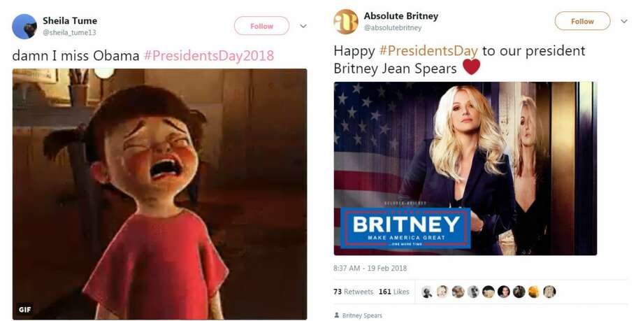President's Day has Twitter users reminiscing about Barack Obama and imagining a world where singer Britney Spears is commander-in-chief. Photo: Twitter