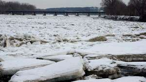A view from Gateway Landing Park shows ice on the Mohawk River on Monday, Feb. 19, 2018, in Rotterdam, N.Y. (Paul Buckowski/Times Union)