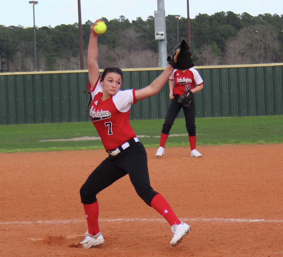 Coldspring-Oakhurst Lady Trojan Victoria Ritchie winds up a pitch to throw at the Klein Forest Lady Eagles during the Humble High School softball tournament on Feb. 15. Photo: Jacob McAdams