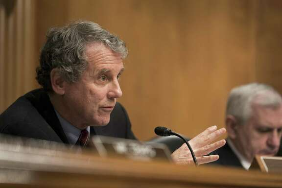 Sen. Sherrod Brown (D-Ohio) at a hearing on Capitol Hill in Washington, Feb. 6, 2018. Brown represents many retirees covered by multiemployer pension plans and fought for the creation of a select congressional committee to craft what could effectively be a federal rescue of as many as 200 of the plans.