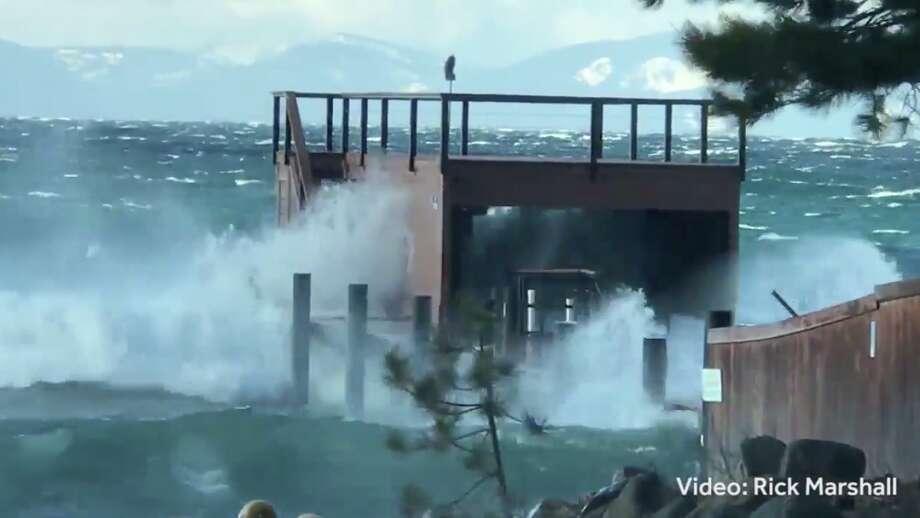 Huge waves were crashing on the shores of Lake Tahoe on Feb. 18, 2018. Photo: Rick Marshall/Courtesy