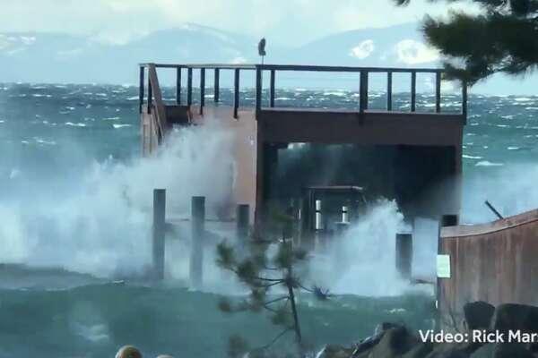 Huge waves were crashing on the shores of Lake Tahoe on Feb. 18, 2018.