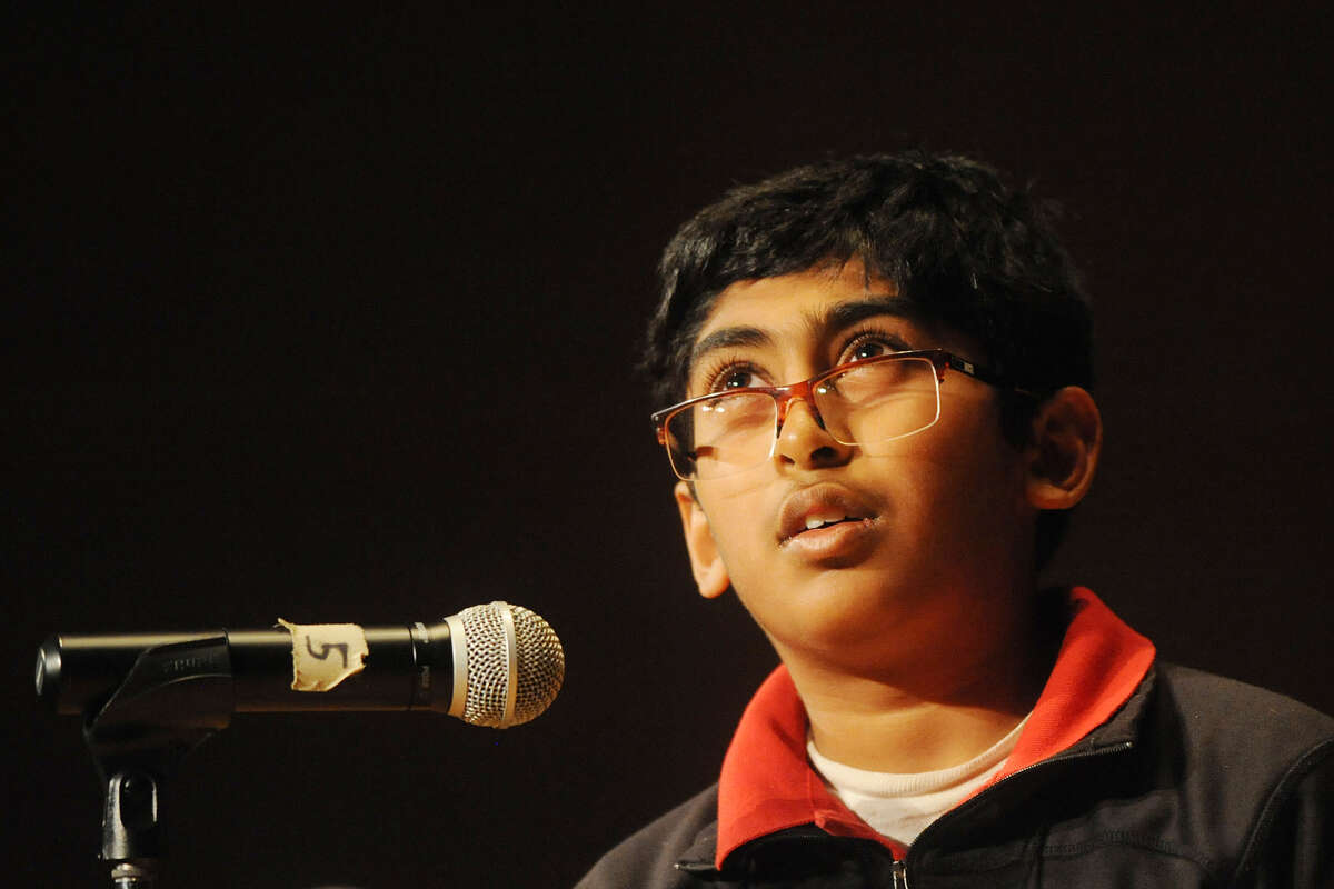 Srikar Chamarthi thinks about how to spell a word during the Midland Reporter-Telegram's 30th annual regional Spelling Bee on Feb. 25, 2017, at the Allison Fine Arts Building on the campus of Midland College. He won the event.