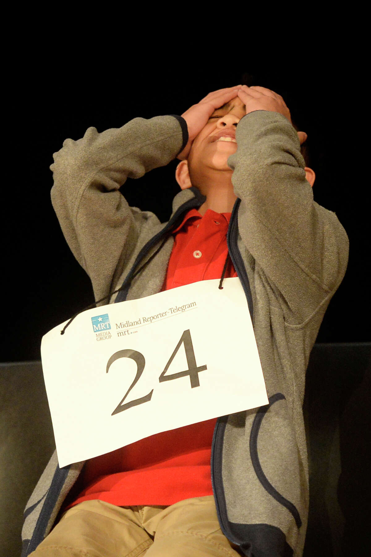 Jaiden Catalasan reacts after incorrectly spelling a word during the Midland Reporter-Telegram's 30th annual regional Spelling Bee last year at Midland College. He was the runner-up.
