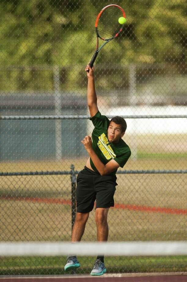 Dow High's Aditya Middha, a four-year varsity tennis player and two-year captain, has been selected for a prestigious MHSAA Scholar-Athlete Award. (Katy Kildee/kkildee@mdn.net)