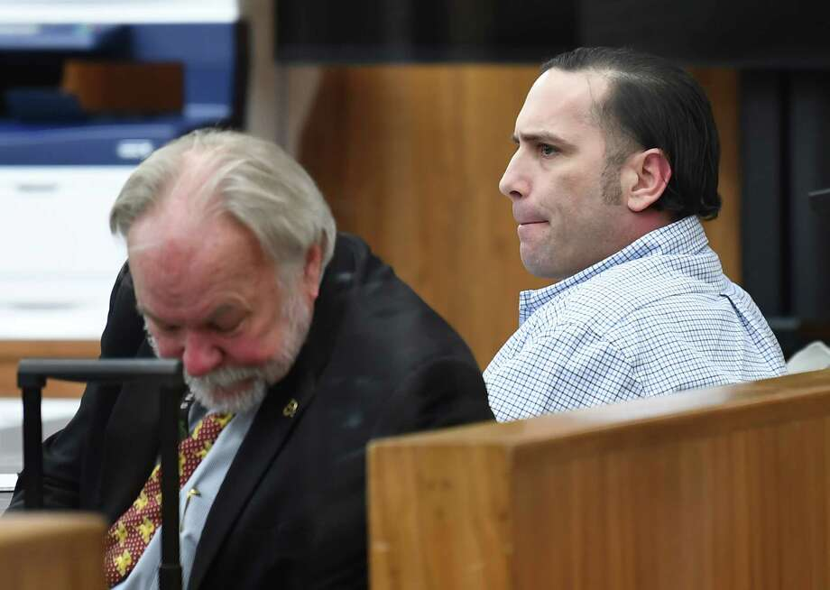 Hardin County capital murder suspect Jason Wade Delacerda, right, in a Kountze courtroom Tuesday morning for the start of jury selection. Delacerda, 40, is accused of killing a 4-year-old girl in 2011. One of his two defense attorneys has requested a change of venue. A judge is expected to rule on that motion Friday. Attorney James Makin is also pictured. Photo taken Tuesday, January 09, 2018 Guiseppe Barranco/The Enterprise Photo: Guiseppe Barranco, Photo Editor / Guiseppe Barranco ©