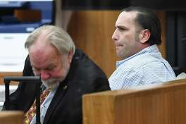 Hardin County capital murder suspect Jason Wade Delacerda, right, in a Kountze courtroom Tuesday morning for the start of jury selection. Delacerda, 40, is accused of killing a 4-year-old girl in 2011. One of his two defense attorneys has requested a change of venue. A judge is expected to rule on that motion Friday. Attorney James Makin is also pictured. Photo taken Tuesday, January 09, 2018 Guiseppe Barranco/The Enterprise