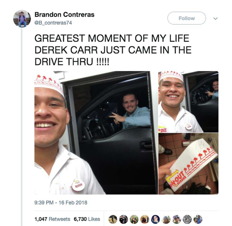 In-N-Out employees in Clovis were thrilled to see Oakland Raiders quarterback Derek Carr roll up to the drive-thru. Photo: Screenshot Via Twitter