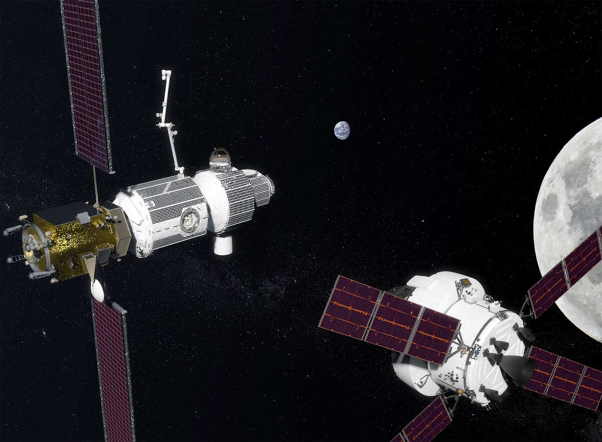 Artist's concept of NASA's proposed deep space station near the moon.