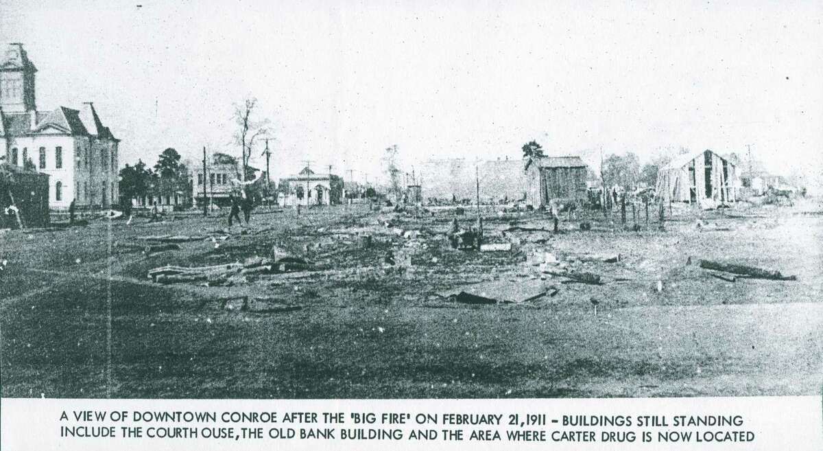 The remains of downtown Conroe following the fire of Feb. 21, 1911 that nearly wiped out the downtown area. Enterprising businessman were quick to rebuild and an ordinance was passed that future buildings had to be of brick or a noncombustible material. Many of those brick buildings remain a part of the downtown district today.