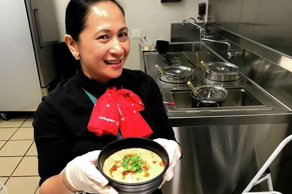 Alaska Airlines first class passengers get access to Cathay Pacific's lounge at SFO's international Terminal where you can get a made to order bowl of dan dan soup before your flight
