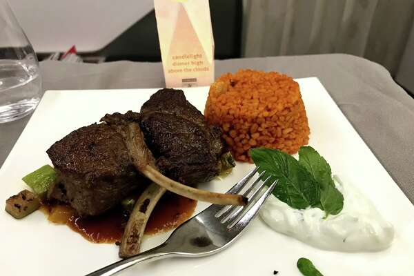 Turkish Airlines business class Istanbul-Toronto offered lamb pops, spicy rice and tzatziki. Nice!