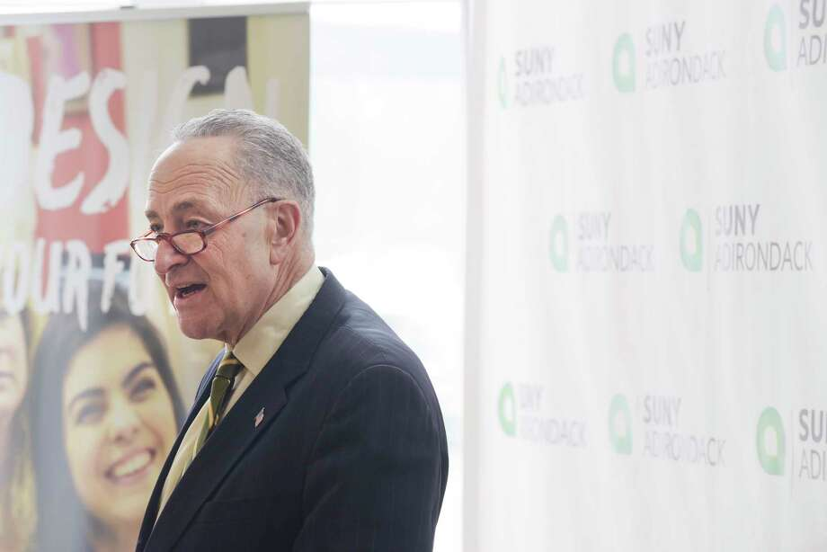 Senator Charles Schumer talks about cyber security during a visit to SUNY Adirondack college on Monday, Feb. 19, 2018, in Queensbury, N.Y. (Paul Buckowski/Times Union) Photo: PAUL BUCKOWSKI, Albany Times Union / (Paul Buckowski/Times Union)