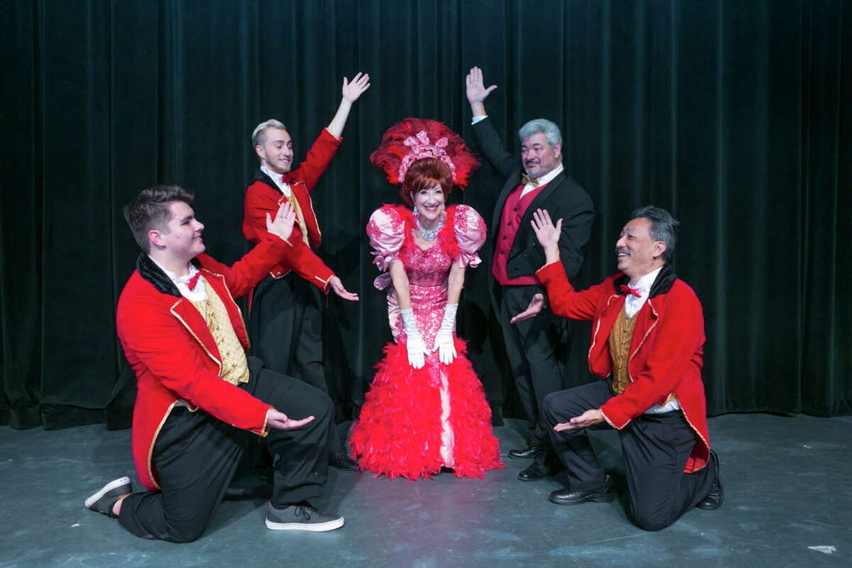 """Dolly with Rudolph and the waiters from left to right Bradley Rice, Wayne Mixon, Carolyn Wong, Jim Murph and Steven Wong in Stage Right's """"Hello Dolly!"""" which will be at the Crighton Theatre through Sunday, Feb. 25."""