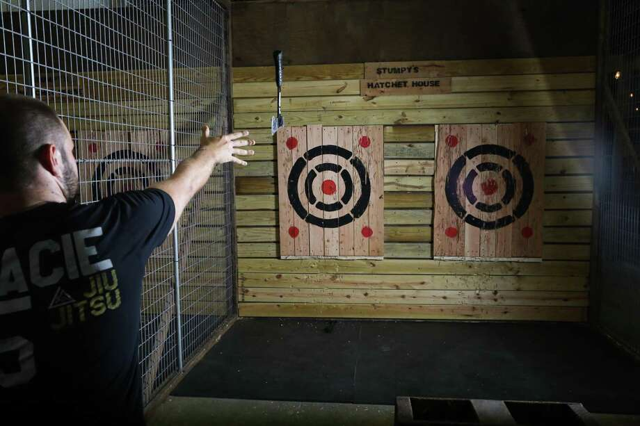 Ready to bury the hatchet for fun? Stumpy's Hatchet House bills itself as the first hatchet-throwing facility in the nation, with the first San Antonio location opening later in March. Photo: Courtesy Stumpy's Hatchet House
