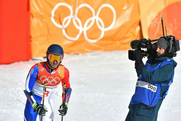 France's Mathieu Faivre reacts after competing in the Men's Giant Slalom at the Jeongseon Alpine Center during the Pyeongchang 2018 Winter Olympic Games in Pyeongchang on February 18, 2018. / AFP PHOTO / Fabrice COFFRINIFABRICE COFFRINI/AFP/Getty Images