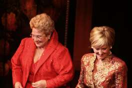 Marilyn Horne, left, introduces Frederica Von Stade. The pair starred in a production devoted to Pauline Viardot in a concert at the Herbst Theatre in San Francisco, Calif., on  Photo by Liz Hafalia / San Francisco Chronicle